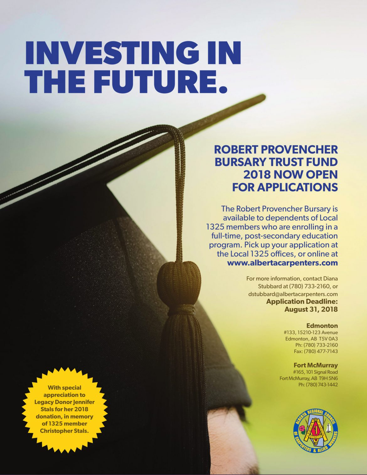 Applications Available Now for the 2018 Robert J. Provencher Bursary!