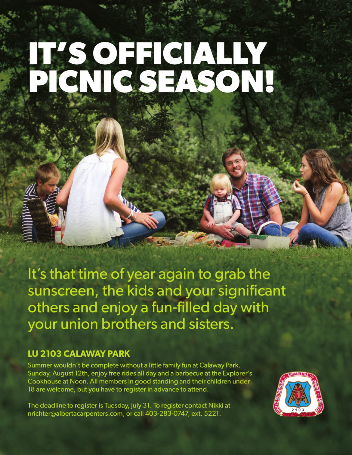 Local 2103 and 1325 Family Picnics scheduled for August 12